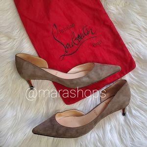 Christian Louboutin Iriza gray suede heels